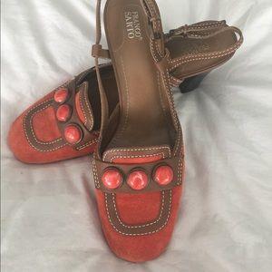 Franco Sarto heels in brown with orange design.